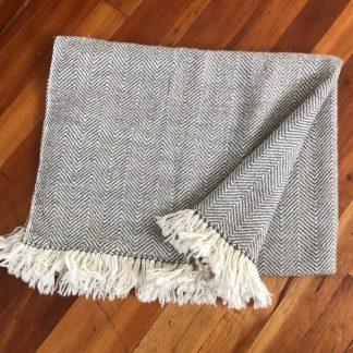 Woven Twin Blanket, Natural Herringbone