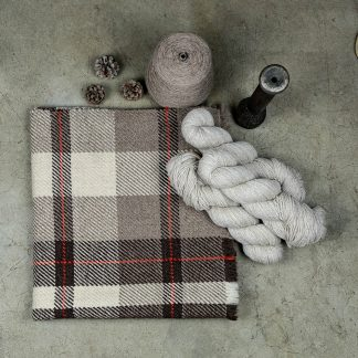 Woven Wool Product with Yarn, Pinecones, & a Spool