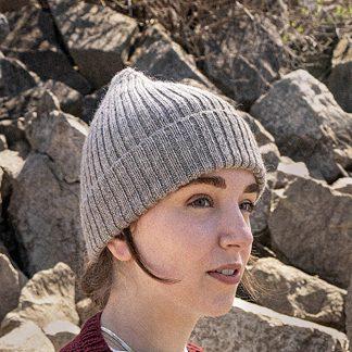 Rib Knit Beanie - Oatmeal on model